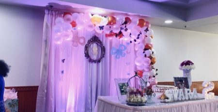 Pink White Backdrop With Butterfly Theme Blended Balloon Garland Happy 2nd Birthday To Swara Celebrated At Moon Indian Restaurant Marietta
