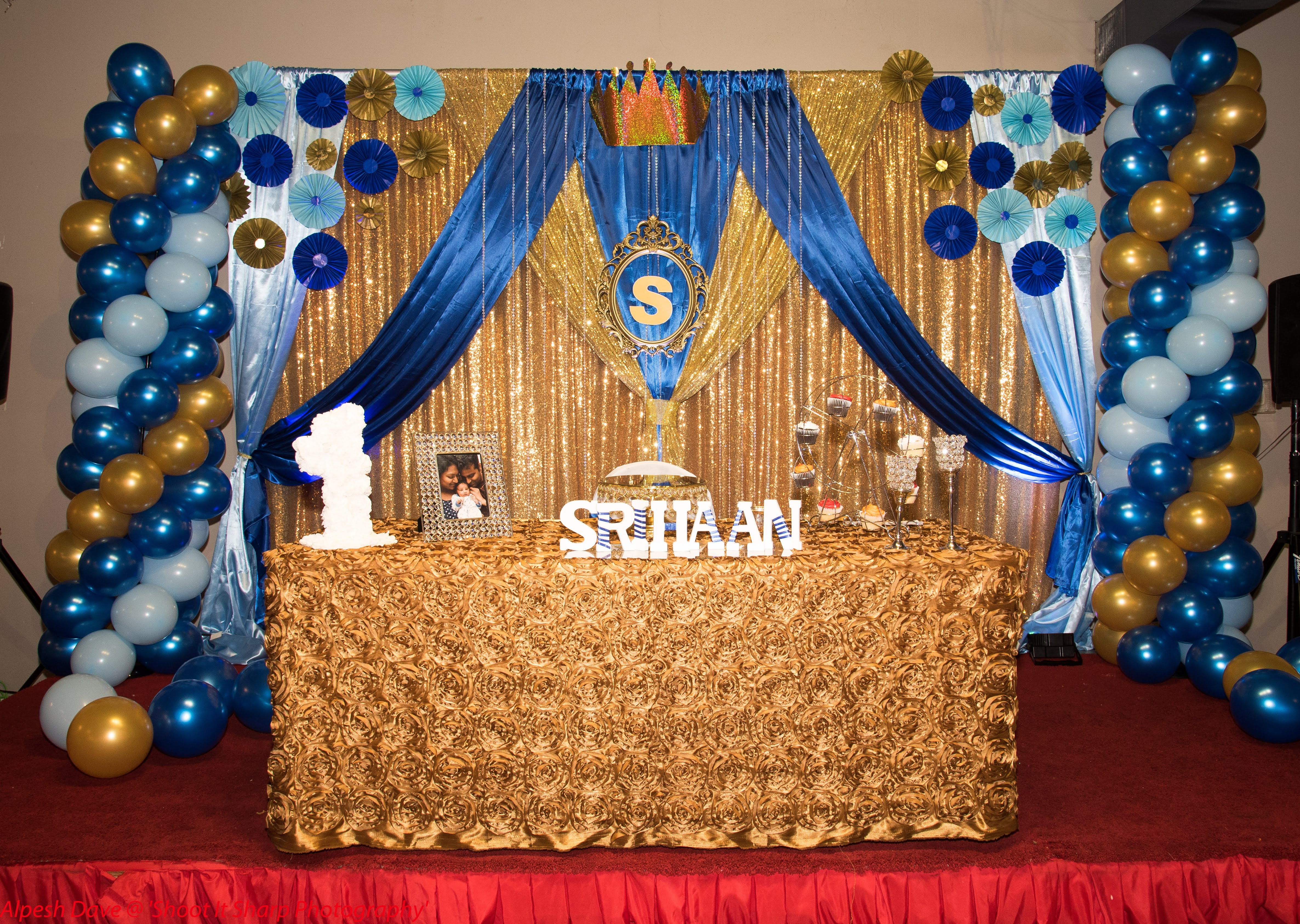 Baby Boy 1st birthday decor at Aachi's indian restaurant ...
